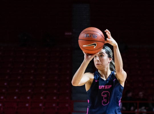 University of Texas El Paso freshman guard Katia Gallegos shoots a 3-pointer in the game against Western Kentucky at E. A. Diddle Arena on Thursday, Feb. 13, 2020. (Grace Ramey/photo@bgdailynews.com)