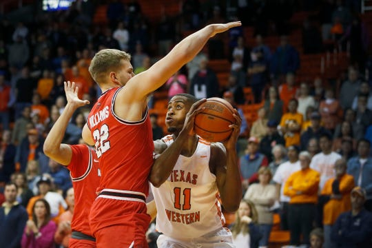 UTEP's Bryson Williams goes against Western Kentucky defense during the game Thursday, Feb. 13, at the Don Haskins Center in El Paso.