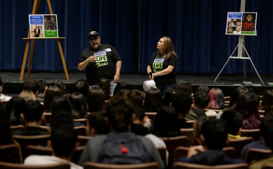 On National Donor Day, Montwood High School seniors learned about how to become an organ donor from Rene Moreno Sr., whose son died in September. Rene Moreno Jr. saved six lives through his organs and impacted 50 people with his tissue donation. With Moreno is Karla Martinez, community relations specialist for the  Southwest Transplant Alliance.