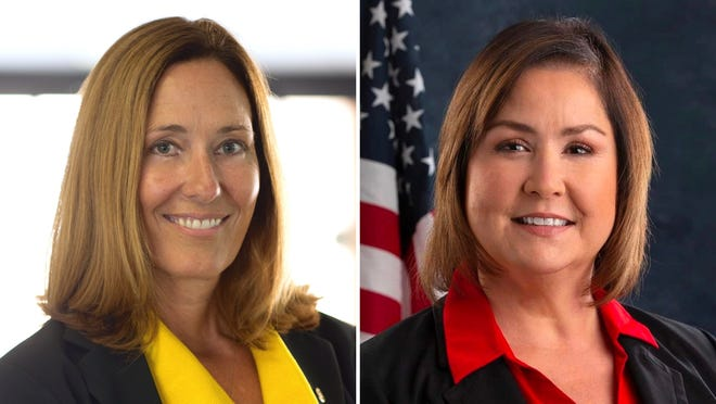Assemblywoman Jacqui Irwin, D-Thousand Oaks, left, will face off against challenger Denise Pedrow, right, a Republican, in the Nov. 3 general election.