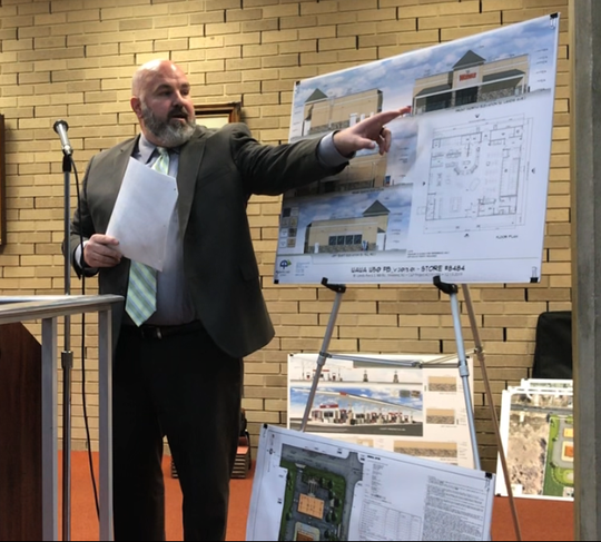 Engineer Matthew Sharo points out features of a proposed Wawa to be built at West Landis Avenue and South Mill Road in Vineland. The Vineland Planning Board approved it on Wednesday night.