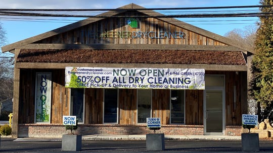 The Greener Dry Cleaner's flagship location in North White Plains has a living awning: It has  sedum plants growing on it.