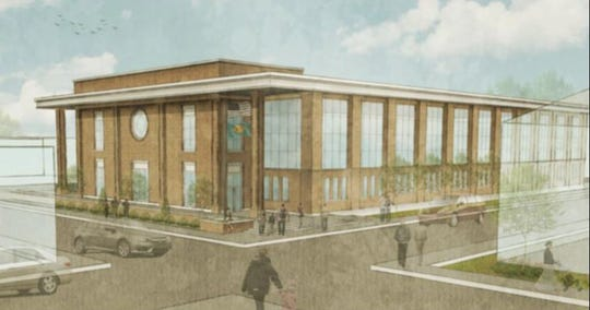 An artist's rendering shows a proposed design of a new family courthouse in Georgetown. The design has not been finalized.