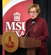 Midwestern State University President Suzanne Shipley answers questions from the media after announcing the school is exploring the possibility of joining the Texas Tech University System as shown in this Feb. 14, 2020, file photo.