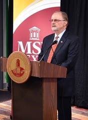 Midwestern State University Board of Regents Chair Caven Crosnoe speaks during a press conference Friday morning after the announcement that MSU Texas is considering becoming part of the Texas Tech University System.