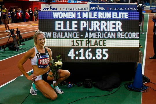 Elle Purrier after winning the NYRR Wanamaker Mile set a new American Record at the Millrose Games track and field meet Saturday, Feb. 8, 2020, in New York. (AP Photo/Adam Hunger)