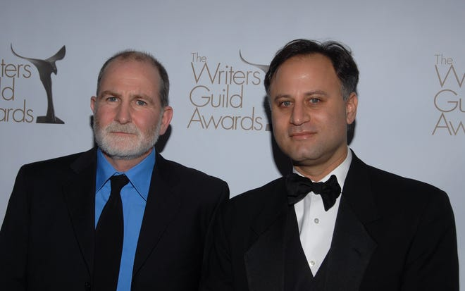 Writers Bill Guttentag and Dan Sturman arrive at the 2010 Writers Guild Awards held at the  Hyatt Regency Century Plaza on February 20, 2010 in Century City, California.