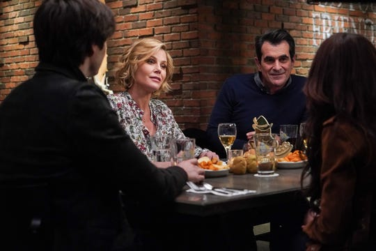 """Modern Family"" stars Julie Bowen, left facing camera, and Ty Burrell, seen in a scene from the Feb. 19 episode, are among the cast members, writers and crew feeling the emotions as the 11-season, Emmy-winning ABC comedy approaches its conclusion on April 8."