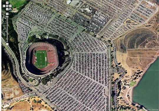 Satellite view of CandleStick Park in San Francisco, CA on Googles Maps website (www.maps.google.com) which allows users to check out satellite photos of cities around the USA. (Photo frame grab courtesy of Google.com