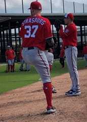 Stephen Strasburg makes his first bullpen session of the spring.