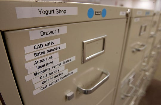 Filling cabinets at the Austin Police Department's Homicide Cold Case Unit are still filled with documents and information on the Yogurt Shop Murders, one of the cities most notorious cases in Austin, Texas on Tuesday, August 2, 2011.  (Austin American-Statesman/Rodolfo Gonzalez)
