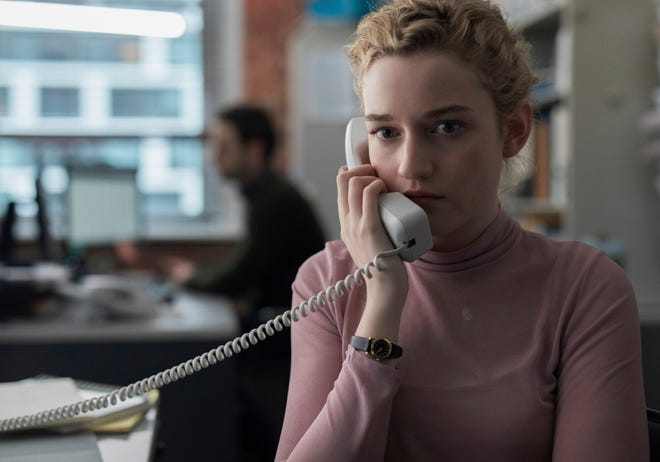 "This image released by Bleecker Street shows Julia Garner in a scene from ""The Assistant."""