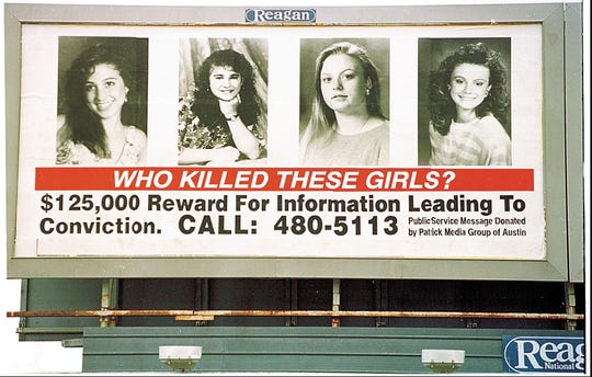 A 1993 billboard advertising a reward of $125,000 for leads in the Yogurt Shop murders.