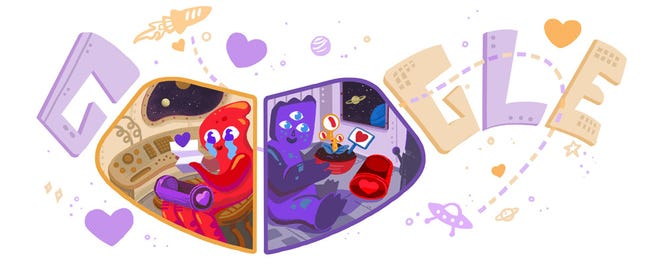 Google Doodle celebrates Valentine's Day with two aliens in love.