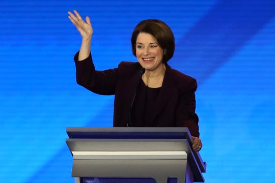 Sen. Amy Klobuchar participates in the Democratic presidential primary debate in Manchester, New Hampshire, on Feb. 7, 2020