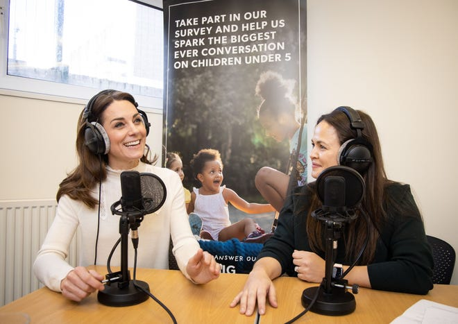 """Duchess Kate of Cambridge appeared live with Giovanna Fletcher, host of the """"Happy Mum, Happy Baby"""" podcast in Britain, to talk about early childhood years and her landmark national survey of questions about kids under age 5."""