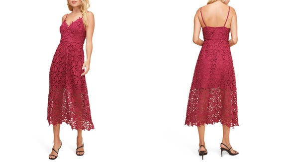 This Lace Midi Dress is a flirty look for any party.