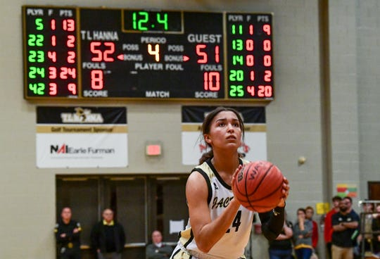 T.L. Hanna senior Meleia Bracone makes the second of two free-throws to break the 51-51 score during the fourth quarter at T.L. Hanna High School in Anderson Friday.