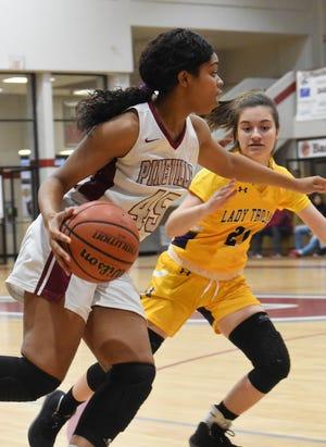 Pineville's Elazia Washington (45) scored a team-high 26 points against Alexandria Senior High Friday Feb. 14, 2020. The Lady Rebels won 68-36.