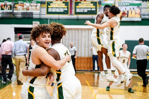 The Rockets celebrate their Western Mountain Athletic Conference championship win February 14, 2020.