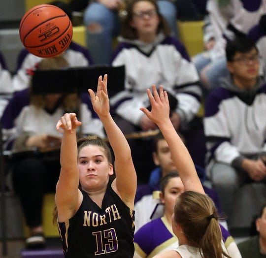 North Kitsap freshman Sophia Baugh scored 21 points in the Vikings' upset win over White River on Friday in district tournament play.