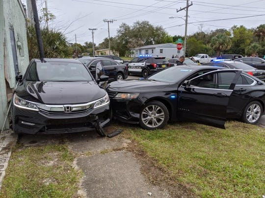 The supsect fled from officers and crashed the Accord into an unmarked Titusville police cruiser near Deleon Avenue and Pine Street.