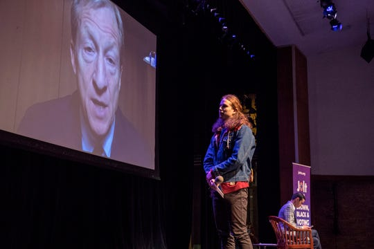 Presidential candidate Tom Steyer answers questions via video conference during Movimiento 2020, a youth-led political forum focused on Latino youth hosted by Jolt Action at San Jacinto College in Pasadena, TX, on Saturday, February 15, 2020.