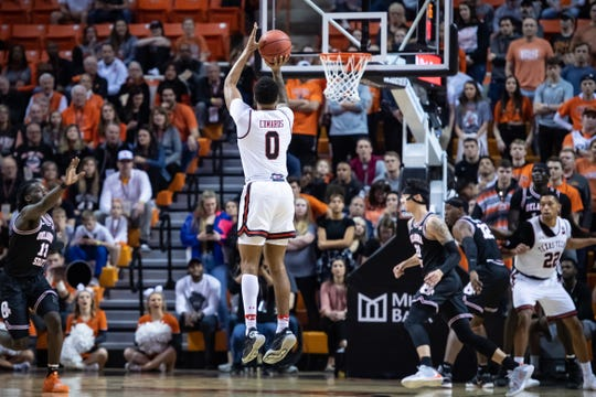Feb 15, 2020; Stillwater, Oklahoma, USA; Texas Tech Red Raiders guard Kyler Edwards (0) shoots the ball against the Oklahoma State Cowboys during the first half at Gallagher-Iba Arena. Mandatory Credit: Rob Ferguson-USA TODAY Sports