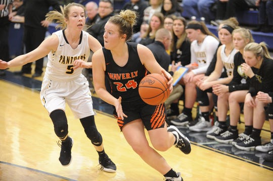 Waverly's Zoiee Smith dribbles the ball during a 50-36 loss to Miami Trace in D-II Sectional Final on Saturday Feb. 15, 2020 at Adena High School in Frankfort, Ohio.