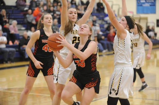 Waverly's Paige Carter goes up for a layup during a 50-36 loss to Miami Trace in D-II Sectional Final on Saturday Feb. 15, 2020 at Adena High School in Frankfort, Ohio.