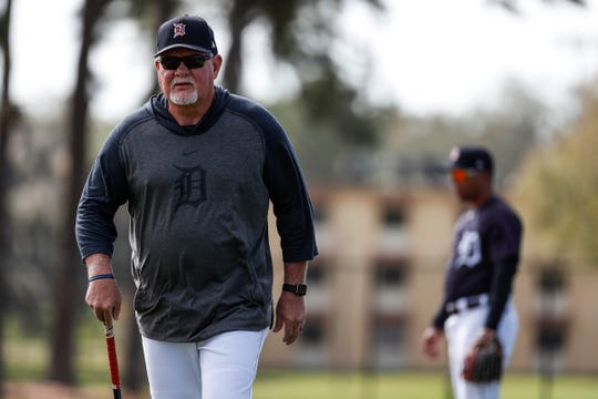Manager Ron Gardenhire watches practice during Detroit Tigers spring training at TigerTown in Lakeland, Fla., Saturday, Feb. 15, 2020.