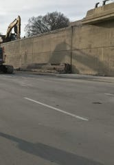 Cement cap on the John C. Lodge freeway that fell Friday evening.