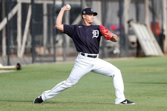 Pitcher Shao-Ching Chiang practices during Detroit Tigers spring training at TigerTown in Lakeland, Fla., Saturday, Feb. 15, 2020.
