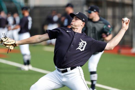 Pitcher Tarik Skubal practices during Detroit Tigers spring training at TigerTown in Lakeland, Fla., Saturday, Feb. 15, 2020.