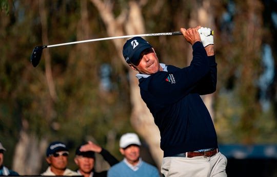 Matt Kuchar hits from the 15th tee during the second round of the Genesis Open at Riviera Country Club on Friday. He carries a two-shot lead into Saturday.