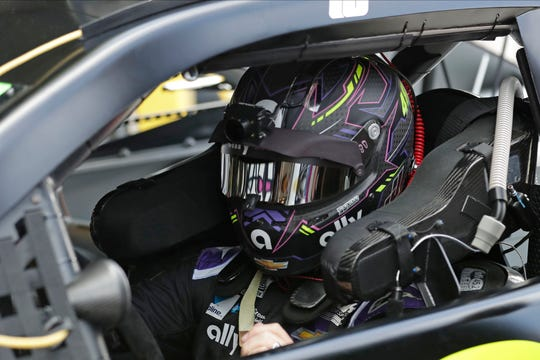 Jimmie Johnson gets ready to run laps during a practice session for the NASCAR Daytona 500 auto race at Daytona International Speedway, Saturday, Feb. 15, 2020, in Daytona Beach, Fla. (AP Photo/John Raoux)