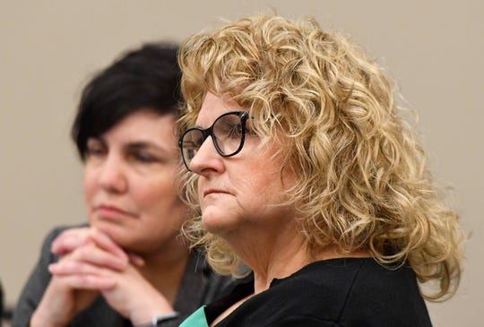 Kathie Klages, right, sits with attorney Mary Chartier as they listen to testimony this week in Klages' trial in Ingham County Circuit Court in Lansing.