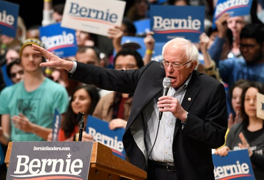 Democratic presidential candidate U.S. Sen. Bernie Sanders, I-Vt., speaks to supporters during a rally at Belk Theater at Blumenthal Performing Arts in Charlotte, N.C., Friday, Feb. 14, 2020.
