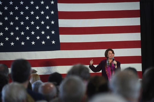 Democratic presidential candidate Sen. Amy Klobuchar, D-Minn., speaks during a campaign rally at the Boys and Girls Club of Truckee Meadows in Reno, Nev., Friday Feb. 14, 2020.