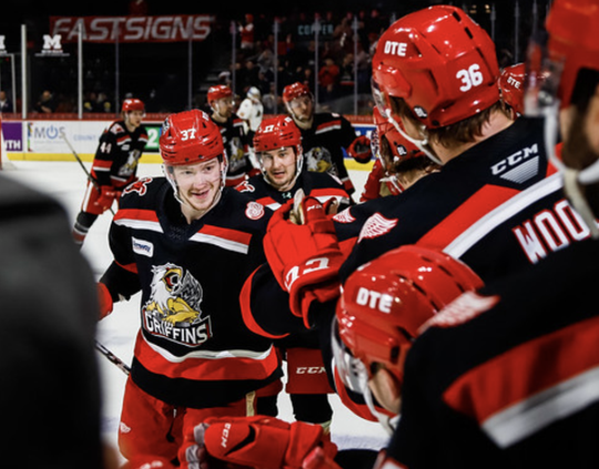 Grand Rapids' Evgeny Svechnikov celebrates his goal against the Monster on Friday in Grand Rapids.