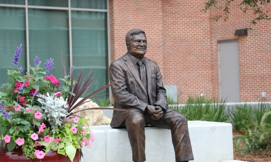 Dr. Eric Barron's contributions to FSU and the development of the EOAS building are honored by a statue that will sit outside the building made by the FSU Master Craftman Studio.