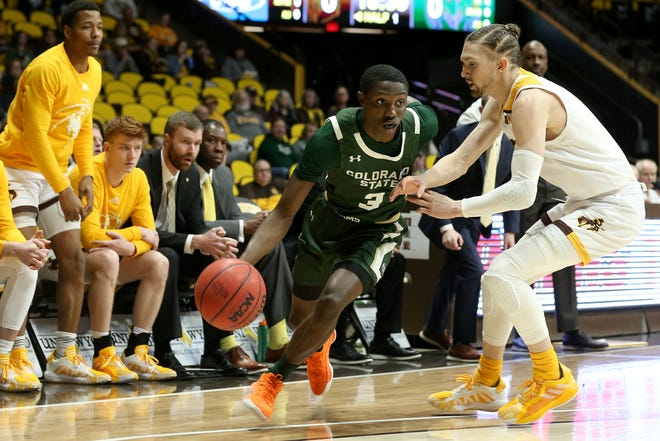 Colorado State sophomore guard Kendle Moore drives toward the hoop during the Border War men's basketball game against the University of Wyoming Saturday, Feb. 15, 2020, at Arena-Auditorium in Laramie. Michael Cummo/Wyoming Tribune Eagle