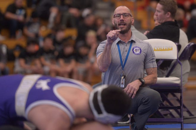 Fort Collins wrestling coach Mark Moser during regionals at Fort Collins on Friday, Feb. 14, 2020.