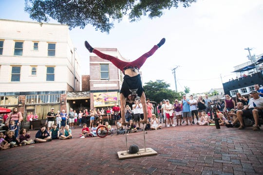 Daniel Israel wows crowds at Patio DeLeon before the start of the Edison Festival of Light Grand Parade on Saturday, February 15, 2016.
