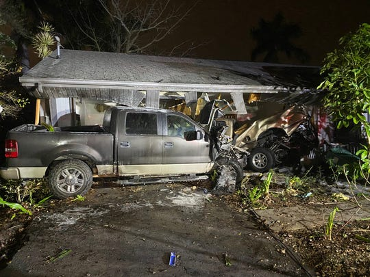 Collier County deputies are looking for a driver who they say caused a crash at 53rd Street and Golden Gate Parkway early Saturday before fleeing in a Ford F-150. The truck ultimately crashed into a home on 52nd Street and the driver fled on foot. Another motorist and an occupant inside the home were injured.