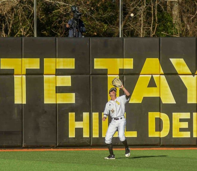 Southern Miss Golden Eagles infielder Reed Trimble looks to catch the ball against the Murray State Racers during their baseball game at Pete Taylor Park in Hattiesburg, Miss. Friday, Feb. 14, 2020.