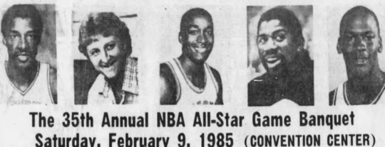 The 1985 NBA All-Star game in Indianapolis featured some of the legends of the game.