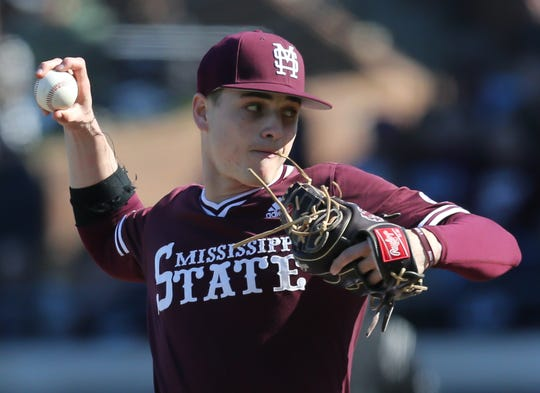 Mississippi State's JT Ginn (3) is dealing with arm soreness.