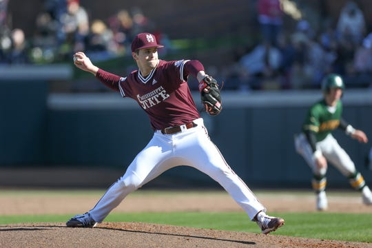 Mississippi State's Carlisle Koestler (29) releases a pitch. Mississippi State opened the 2020 baseball season Friday, February 14 against Wright State at Dudy Noble Field. Photo by Keith Warren
