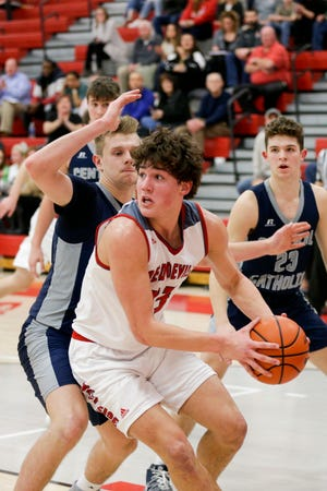 West Lafayette forward Yanni Karlaftis (23) is guarded by Central Catholic guard Carson Barrett (34) during the third quarter of an IHSAA boys basketball game, Friday, Feb. 14, 2020 in West Lafayette.